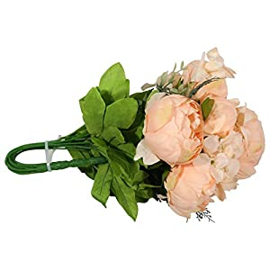 EZFLOWERY 2 Pack Artificial Peony Silk Flowers Arrangement Bouquet for Wedding Centerpiece Room Party Home Decoration, Elegant Vintage, Perfect for Spring, Summer and Occasions (2, Light Orange) 5
