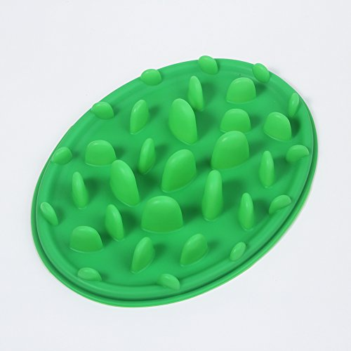 Pet Slow Feed Bloat Non Slip Feeder Bowl Easy Training Eating For Dog Puppy Cat Green Color