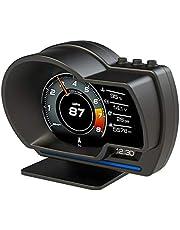 Romacci Display do HUD do carro, OBDⅡ + GPS Medidor inteligente Velocímetro de alta definição Ferramenta de diagnóstico do carro Eliminação do código de falha OBD Computador de condução seguro Alarme