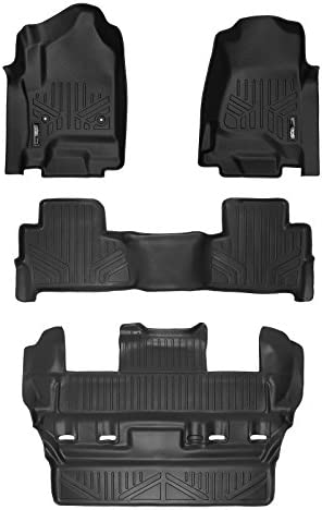 GMC Yukon MAXLINER Custom Fit Floor Mats 3 Row Liner Set Black for 2015-2020 Chevrolet Tahoe
