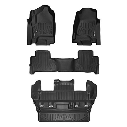 2016 Chevy Tahoe Floor Mats - SMARTLINER Custom Fit Floor Mats 3 Row Liner Set Black for 2015-2019 Chevrolet Tahoe/GMC Yukon