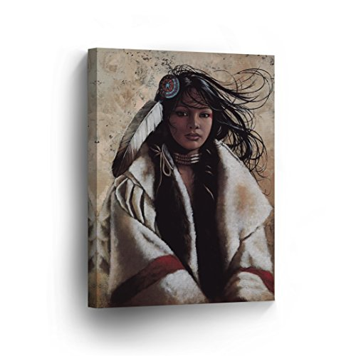 INDIAN WALL ART Beautiful Native American Woman with White Headdress Canvas Print Home Decor Decorative Artwork Gallery Wrapped Wood Stretched and Ready to Hang -%100 Handmade in the USA - 22x15 (American Native Make Headdress)