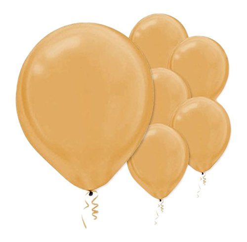 """Amscan Pearlized Latex Balloons, 12"""", Gold"""