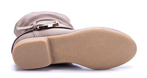 Schuhtempel24 Damen Schuhe Flache Stiefeletten Stiefel Boots Flach Schnalle 2 cm Khaki