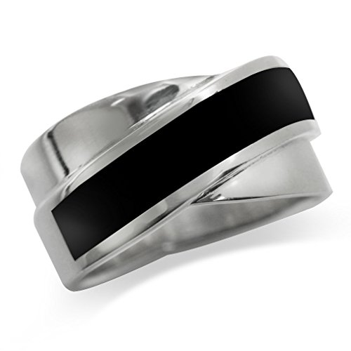 (Created Black Onyx Inlay 925 Sterling Silver Modern Ring Size 9)