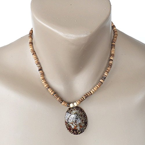Hawaiian Jewelry Opihi Shell Coconut Bead Necklace Pendant From - Shell Coconut Jewellery