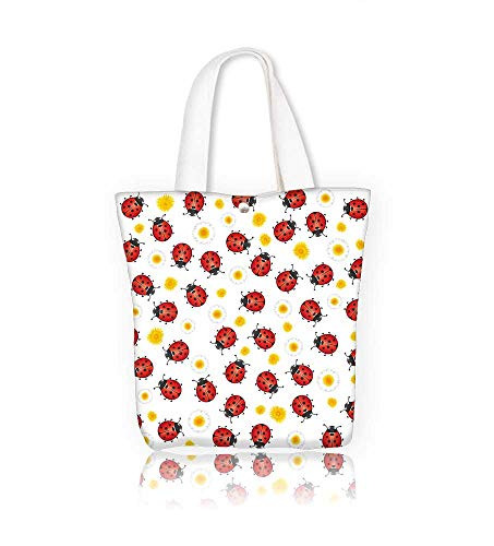 Canvas Shoulder Hand Bag ladybugs and flowers spring women Large Work tote Bag Shoulder Travel Totes Beach W14xH15.7xD4.7 INCH