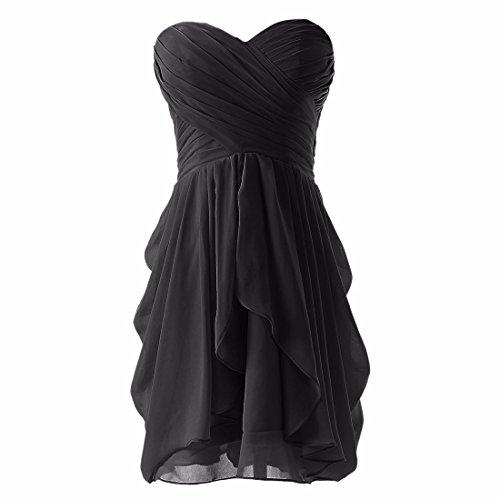 Novia Las QIYUN Vestido De Negro De Tirantes Noche Sin De Z Vestido Gasa Plisada Mujeres del Coctel qSrC7q