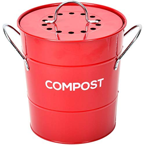 INDOOR KITCHEN COMPOST BIN by Spigo, Great for Food Scraps, Includes Charcoal Filter For Odor Absorbing, Removable Clean Plastic Bucket, Handles, Durable Stainless Retro Design 1 Gallon, Red