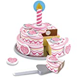 "Melissa & Doug Triple-Layer Party Cake, Wooden Play Food, Tiered Wooden Cake, Self-Sticking Tabs, Sturdy Construction, 13.5"" H x 10.5"" W x 2.7"" L"