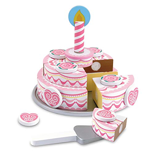 Melissa & Doug Triple-Layer Party Cake (Wooden Play Food, Tiered Wooden Cake, Self-Sticking Tabs, Sturdy Construction, Great Gift for Girls and Boys - Best for 3, 4, 5, and 6 Year Olds)