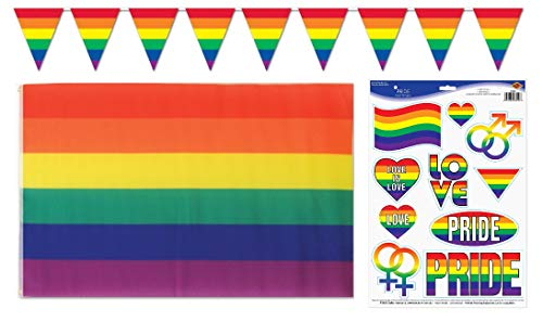 Gay Pride Rainbow Party Bundle | Includes Flag, Pride Peel & Place Decals/Stickers, and Pennant Banner -