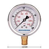 "Measureman 2-1/2"" Dial Size, Liquid Filled Pressure Gauge, 0-200psi/kpa, 304 Stainless Steel Case, 1/4""NPT Lower Mount"