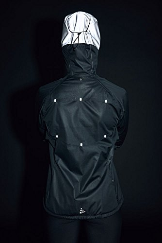 Craft Sportswear Women's Repel Running and Training Outdoor Sport Windproof and Waterproof Reflective Fitted Hooded Jacket, Black/Silver, Large by Craft Sportswear (Image #4)