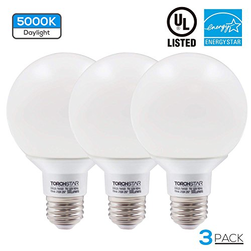 Bulb Bath Vanity Light - G25 Globe led Bulb Dimmable 7W 60W Equiv, Vanity Style Daylight 5000K for Makeup, Pendant, Bathroom, Dressing Room Decorative Light, 3 YEAR WARRANTY, Pack of 3