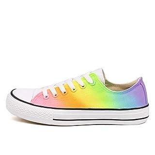 Rainbow Canvas Shoes Women Dye Sneakers Colorful Low Top Adults Casual Flats Hand Paint (8 Women / 6 Men /CN40,P-D120C)
