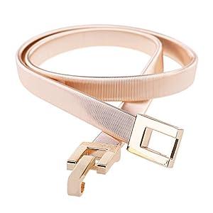 Tanpie Skinny Waist Belt of Women Elastic Metal Stretch Chain Belt Gold and Silver