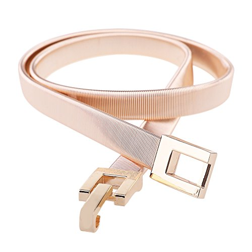 Tanpie Skinny Belt of Women Elastic Stretch Chain belt Metal Waistband Gold and Silver