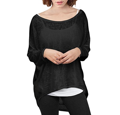 Womens Super Comfy Pullover Top Shirt KT45206X BLACK 1X