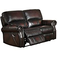 Amax Leather Brooklyn Reclining Loveseat, Burgundy Brown
