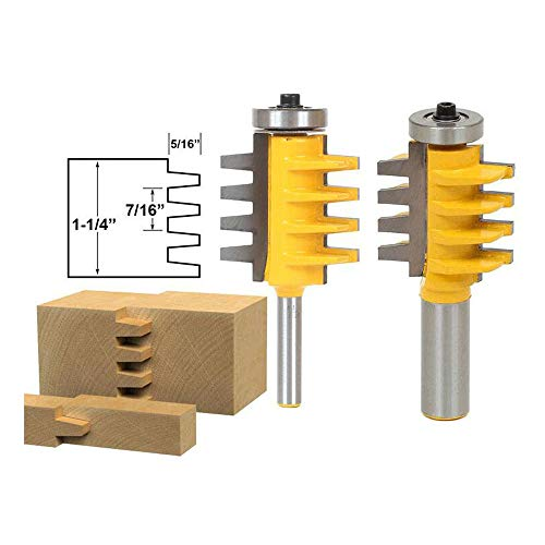 (LETBUY 2 PCS Router Bit Set, 1/2-Inch Shank+1/4-Inch Shank Reversible Finger Joint Glue Joint Tongue and Groove Router Bits, Woodworking Wood Molding Cutter Flooring Router Bit Sets (XD-322A) )