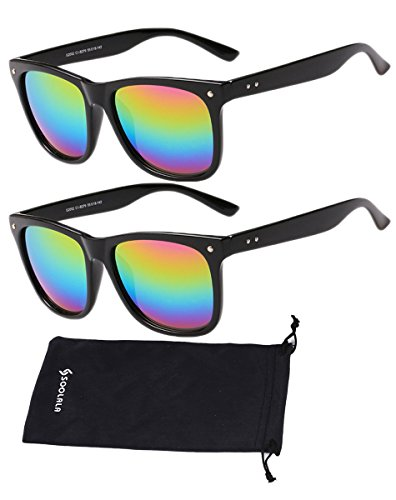 SOOLALA Best Value Pack Retro Large Horn Rimmed Mirror Lens Wayfarer Sunglasses, 2Rainbow -