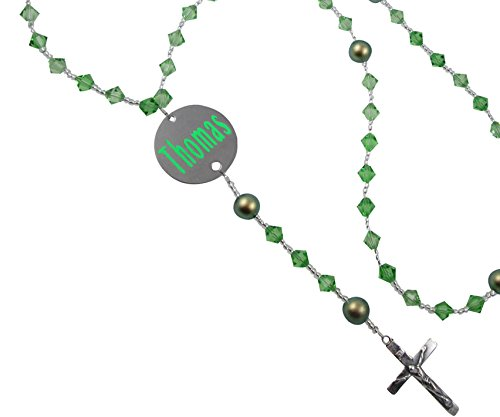 Peridot or Birthstone Customized Crystal & Silver Rosary with Crucifix and Name and Date Medal