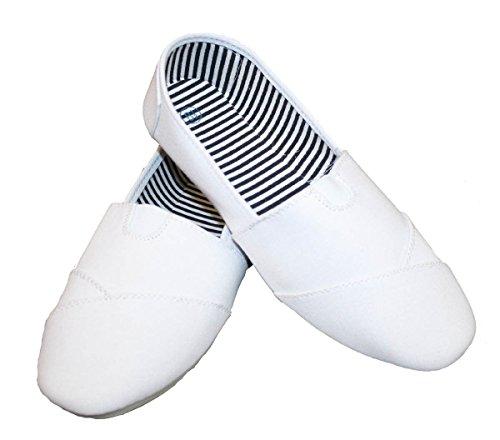 Dona Michi Womens Canvas Slip on Shoes White