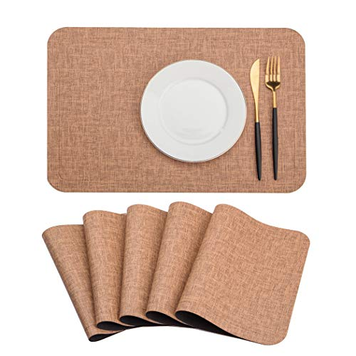 SHINYKDY PU Leather Placemats Set of 6 - Coffee Table Mats Waterproof for Dining Table and Wood Table Stain-Resistant Heat-Insulation Non-Slip Tablemats 12 X 18 inches(Brown)