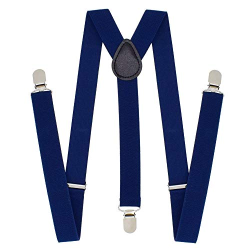 Cinny Universal Suspender for Men and Women Polyester with Metal Clips (Navy) -
