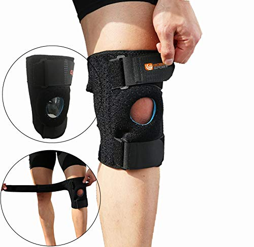 BOER Knee Brace for Women and Men -Adjustable Kneecap Stabilizers Open Patella and Meniscus Support, Suitable Relief for Comfort-Helps with Hypermobility, Ligament Tear, Injuries (Upgrade:Black (Best Hypermobility Knee Brace)