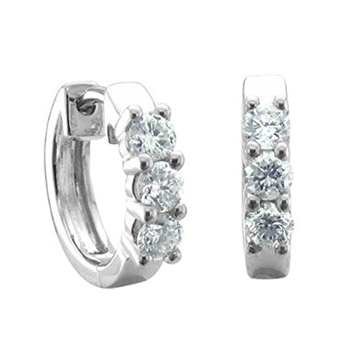 10k White Gold 3 Stone Hoop Huggies Diamond Earrings (1/2 (1/2 Ct Diamond Huggie Earrings)
