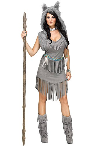 Wolf Sexy Costumes (Fun World Women's Wolf Dancer Costume, Grey, Medium/Large)