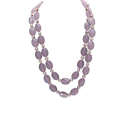 (JYX Pearl Necklace Faceted Oval Rose Quartz and Pink Freshwater Pearl Necklace)