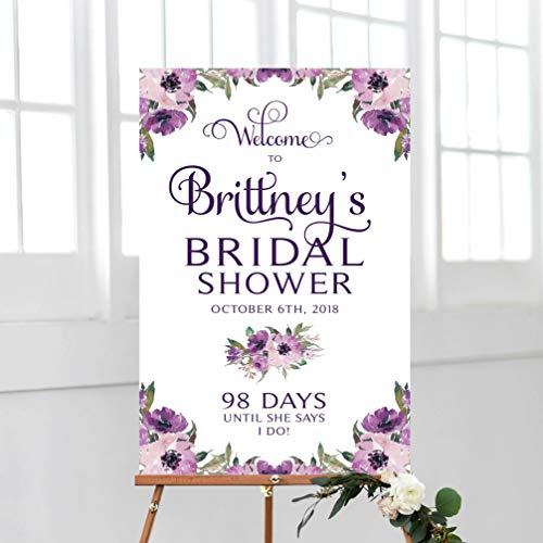 GMK Bridal Shower Welcome Sign,Ever After,Wedding Countdown,Eggplant,Purple Blooms