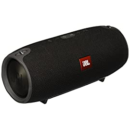 JBL Xtreme Portable Wireless Bluetooth Speaker Black 7 Wireless Bluetooth streaming High-capacity 10,000mAh rechargeable battery Speakerphone splashproof JBL Connect lifestyle material JBL bass radiator Packing a massive rechargeable 10,000mAh Li-ion battery that supports up to 15 hours of playtime and dual USB charge out, this speaker keeps your music and your devices going as long as the party lasts You can trust JBL Xtreme to bring the excitement wherever you need it - whether indoors or outdoors, poolside party or backyard barbeque - with its splash-proof fabric design that's available in black, blue, or red