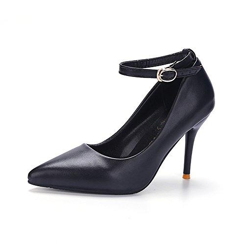TMKOO 2017 nuevo club nocturno atractivo de alta con zapatos de tacón alto de los zapatos de Asakuchi con zapatos de punta fina Negro