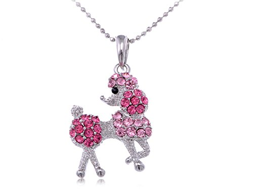 Poodle Dog Pin (Alilang Silver Tone Rose Pink Rhinestones Poodle Puppy Dog Pendant Necklace)