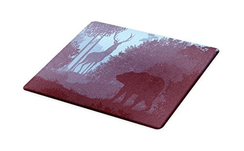 (Lunarable Cabin Cutting Board, Grizzly Bear and Antler Mysterious Woodland Smoky Jungle Fauna Landscape, Decorative Tempered Glass Cutting and Serving Board, Small Size, Sky Blue Dried Rose)