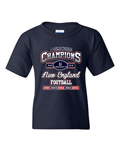 New World Champion 5-Time New England Football DT Youth Kids T-Shirt Tee (X-Large, Navy Blue) (T-shirt Big Time Youth)