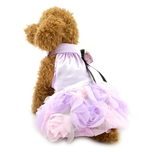 SELMAI Wedding Party Dress for Small Dog with Bow Pet Princess Floral Dress Shih Tzu Clothes Lilac ()