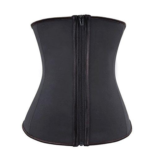 FeelinGirl Women's Zipper Front Steel Boned Latex Underbust Waist Trainer...