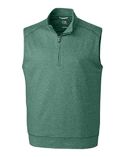 Cutter & Buck MCK09420 Men's Shoreline Half Zip Vest, Hunter Heather - XL Zip Sweater Vest