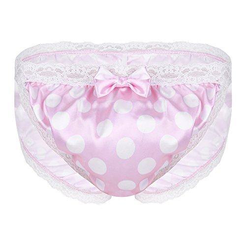Lace Polka Dots Lingerie Sissy Crossdress Briefs Underwear Pink Medium(Waist 27.5