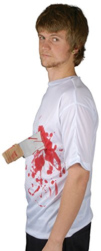 Loftus International Bloody Knife in Chest T-Shirt, White Red, One Size -