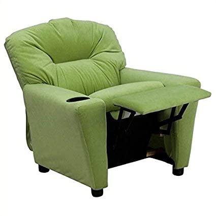 Amazoncom Contemporary Avocado Microfiber Kids Recliner With Cup