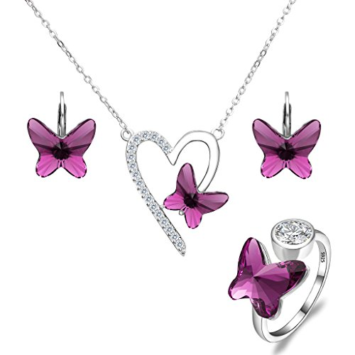 EleQueen 925 Sterling Silver Love Heart Butterfly Purple Made with Swarovski Crystals Pendant Necklace Stud Earrings Ring Set ()