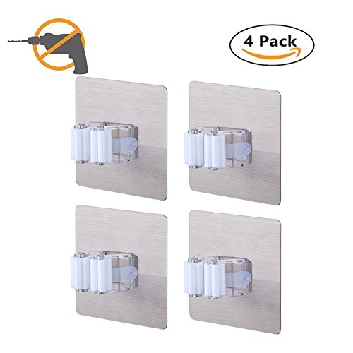 ONMIER 4 Pack Broom Holder Wall Mount, Broom Mop Holds Self Adhesive Reusable No Drilling Super Anti-Slip, Wall Mounted Storage Rack Storage & Organization for Your Home, Kitchen and Garage