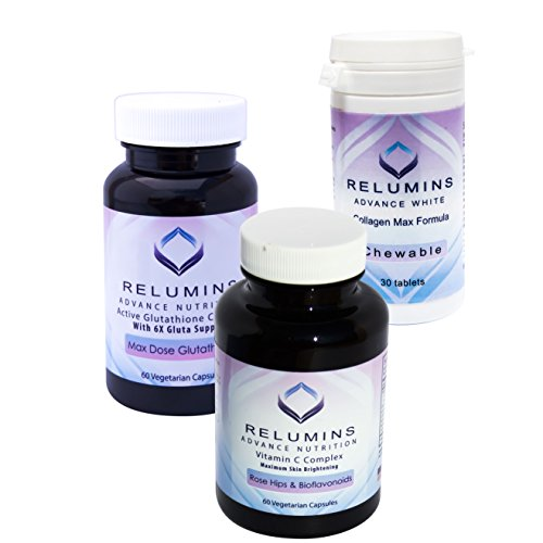 Relumins Advance White Triple Capsule MAX Set - MAX Dose Glutathione with 6x Boosters, Collagen MAX Chewable Tablets and Vitamin C MAX - Maximum Skin Whitening and Rejuvenating (One Month Supply)