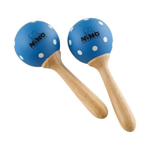 Nino Percussion NINO7PD-B Small Wood Maracas - Blue with White Polka Dots